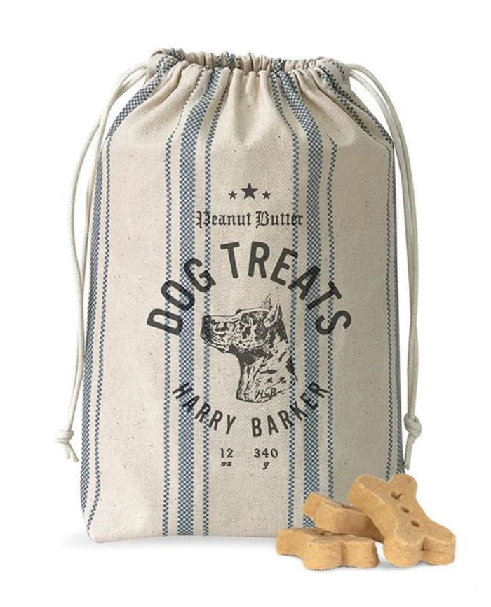Ticking Dog Biscuit Bag with Peanut Butter Biscuits