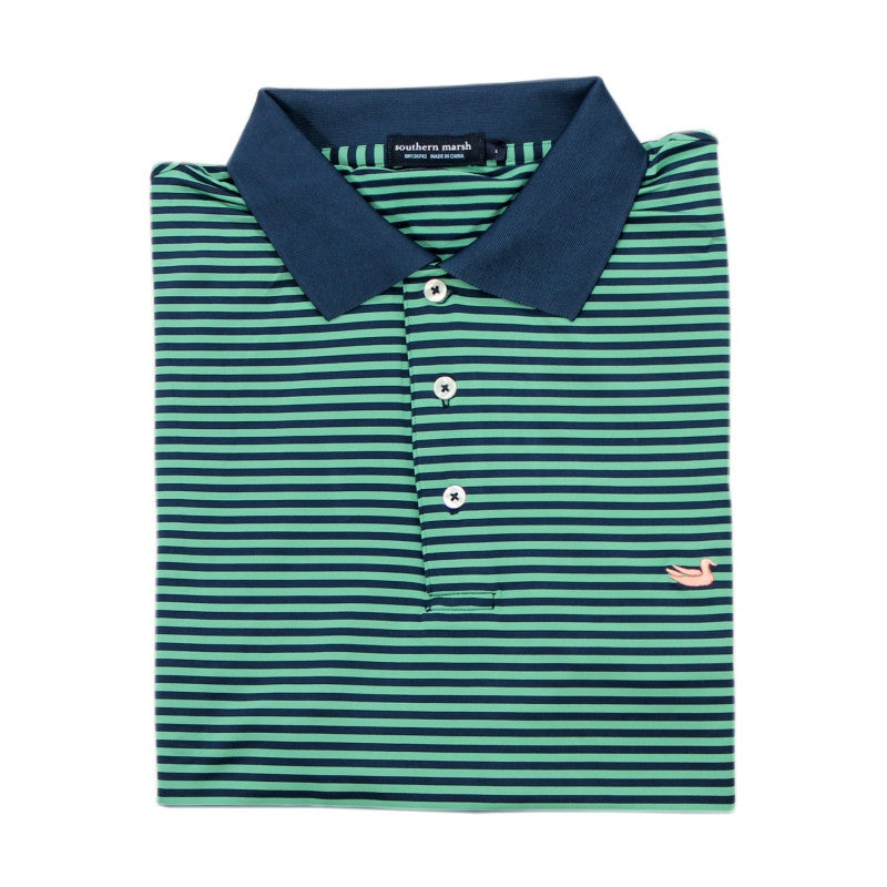 Southern Marsh Bermuda Performance Polo - Asparagus and Navy