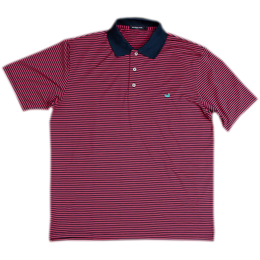 Southern Marsh - Bermuda Stripe Polo - Pink and Navy