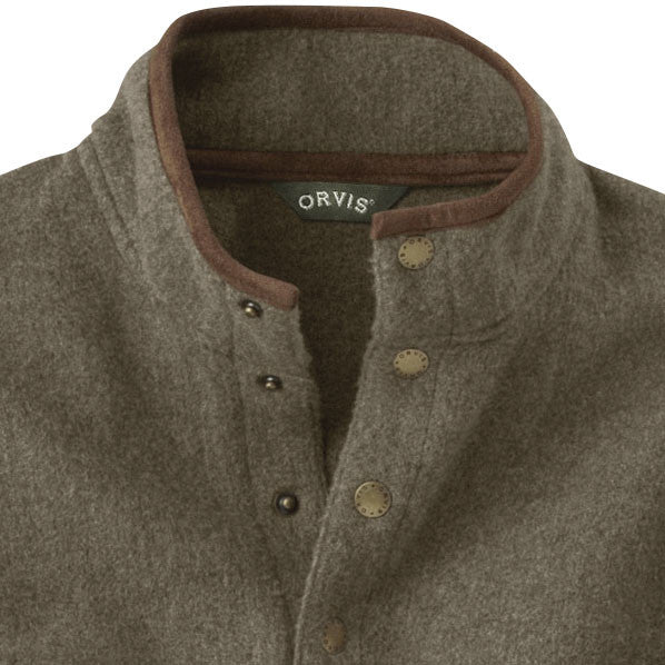 Orvis Suede-Trimmed Snap Fleece - Brown