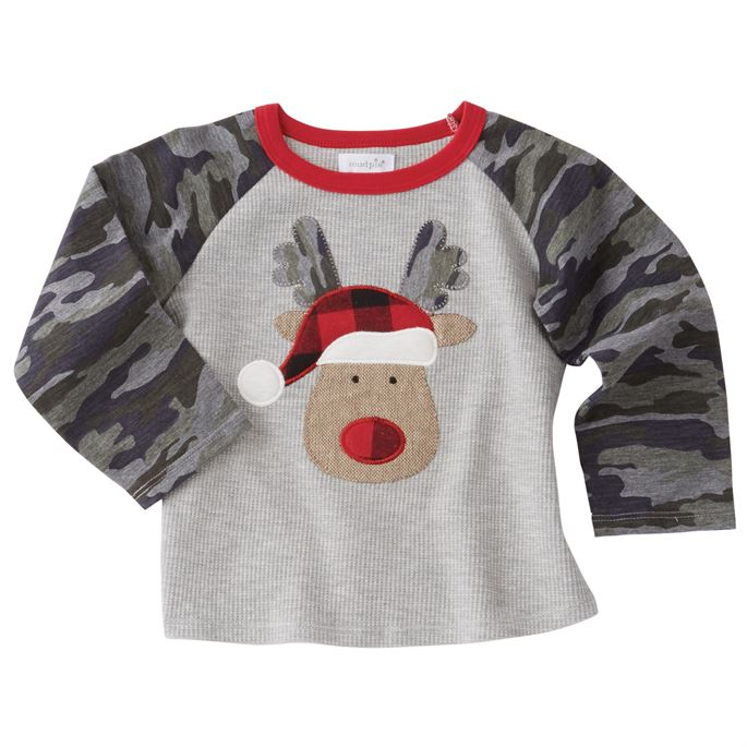 Mud Pie - Christmas Baseball Tee - Camo Reindeer