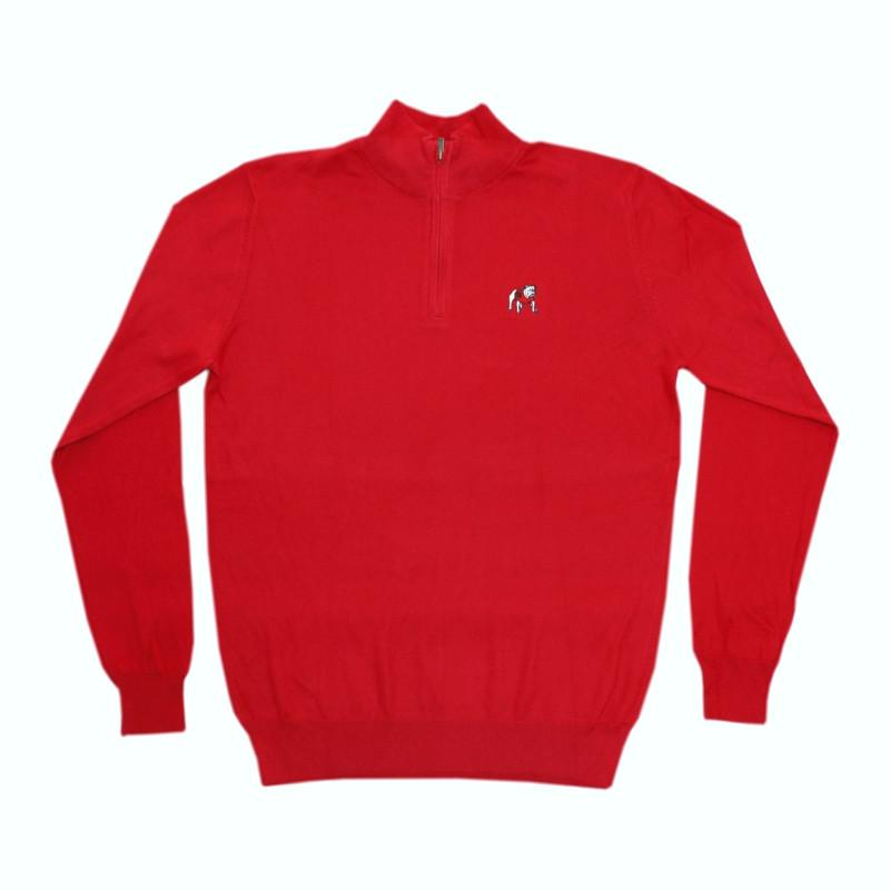 UGA Cotton/Cashmere 1/4 Zip Pullover - Standing Dog - Red