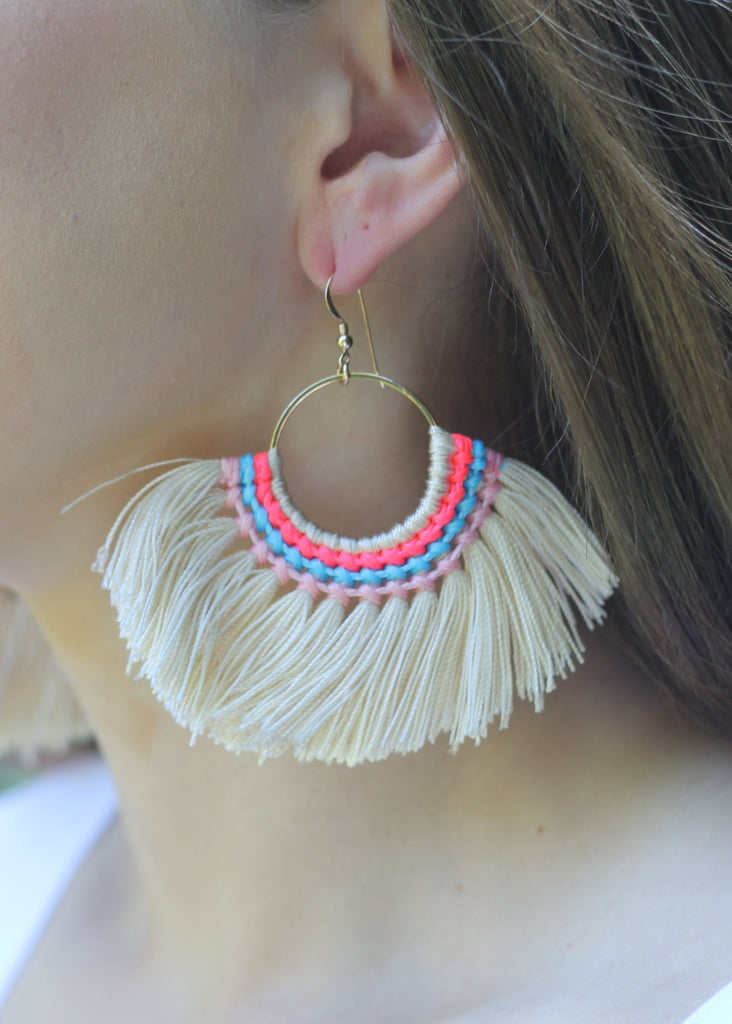 Stitched Tassel Earring - Cream