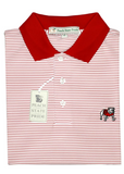 UGA Dogwood Stripe Polo - Standing Dog - Knit Collar