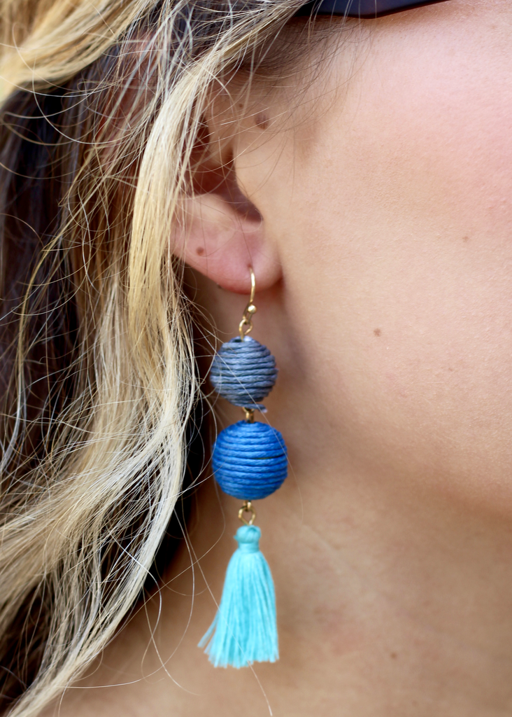 Don't Tassel Me Earrings - Blue