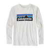 Patagonia Boys' Long-Sleeved P-6 Logo Cotton/Poly T-Shirt-White