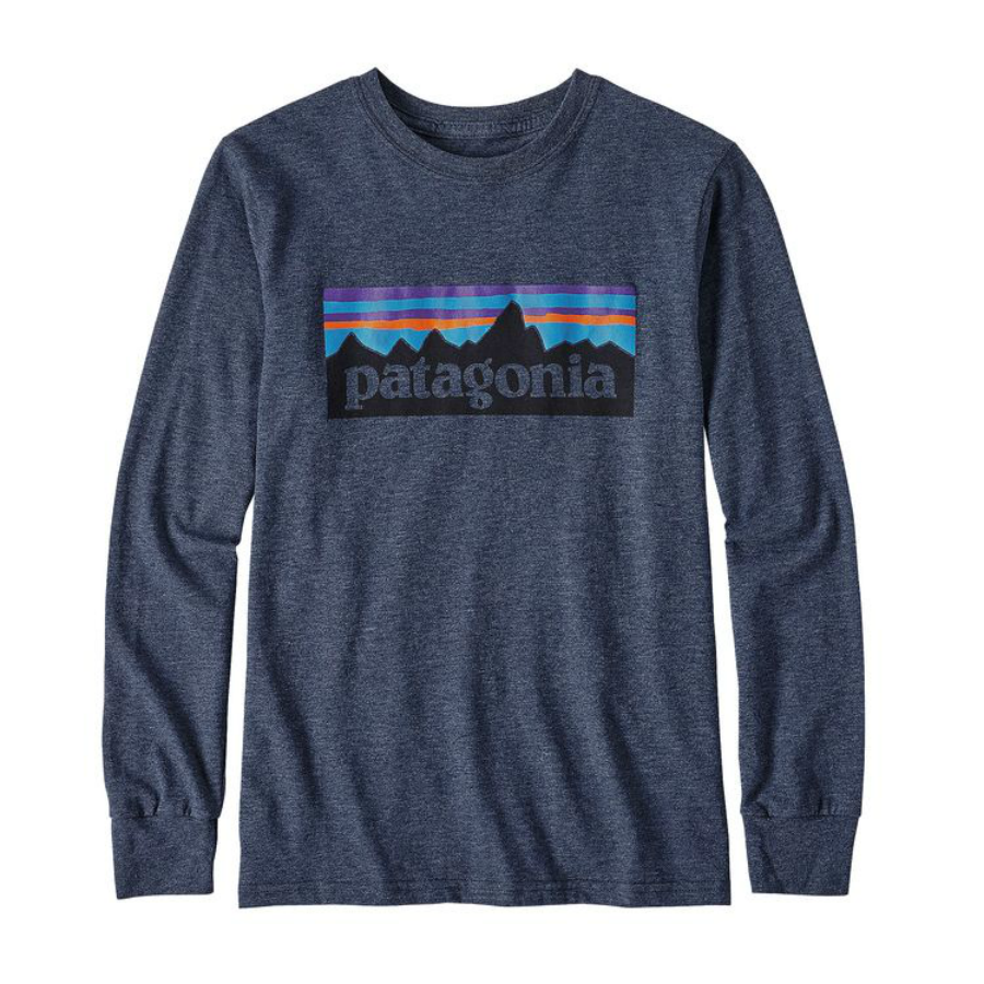 Patagonia Boys' Long-Sleeved P-6 Logo Cotton/Poly T-Shirt - Navy