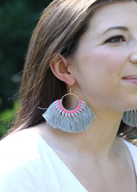 Stitched Tassel Earring - Grey