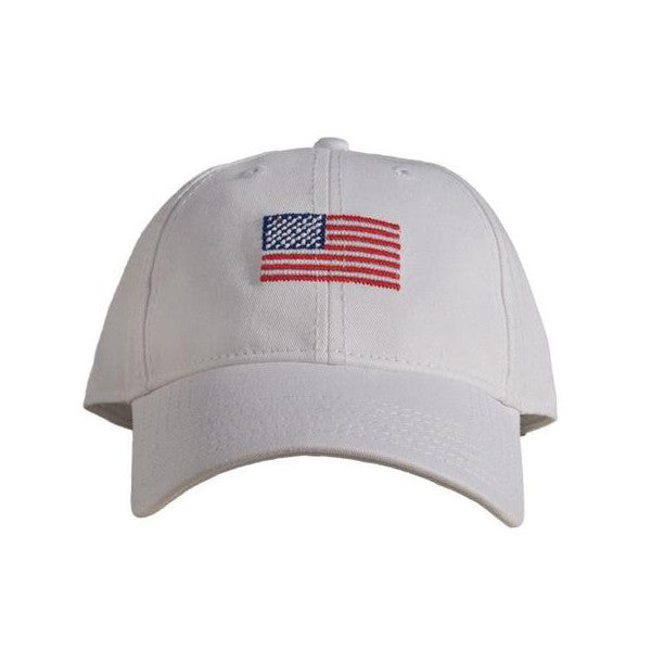Harding Lane Needlepoint Hat - American Flag Hat - White