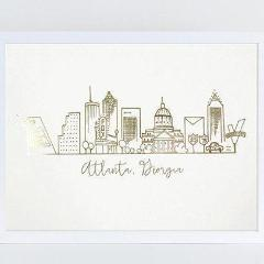 Atlanta Georgia Skyline Print - Gold Foil