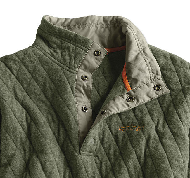 f0fb0b528da0 Orvis Trout Bum Quilted Snap Sweatshirt - Olive Heather – Empire South