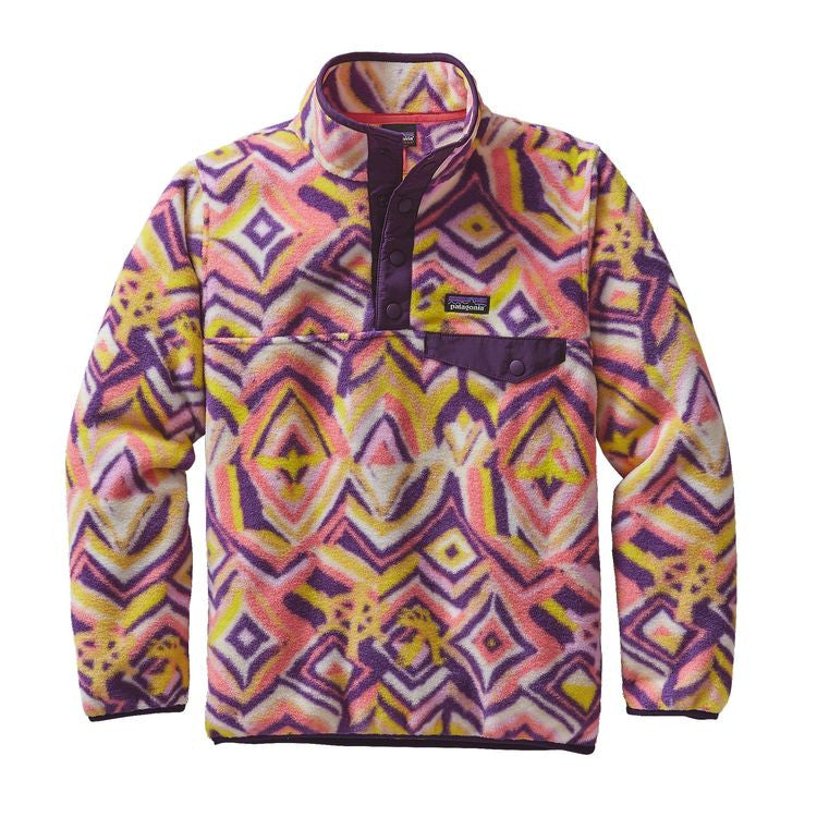 Patagonia Girls' Synchilla LW Snap-T Pullover - Raven Tapestry: Panther Purple
