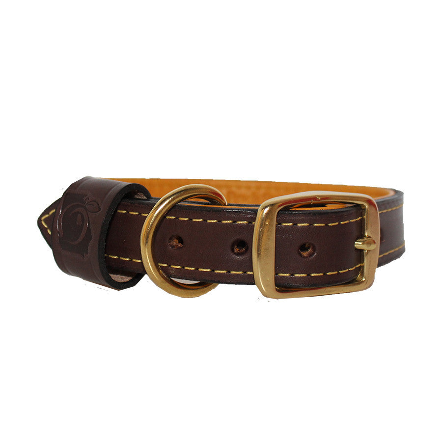 Deer Hide Lined Leather Dog Collar