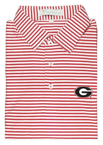 UGA Bulldog Head Dogwood Stripe Polo - Charcoal & White - Self Collar