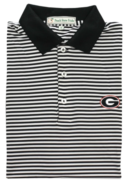 UGA Classic Stripe Polo - G - Black/White - Knit Collar