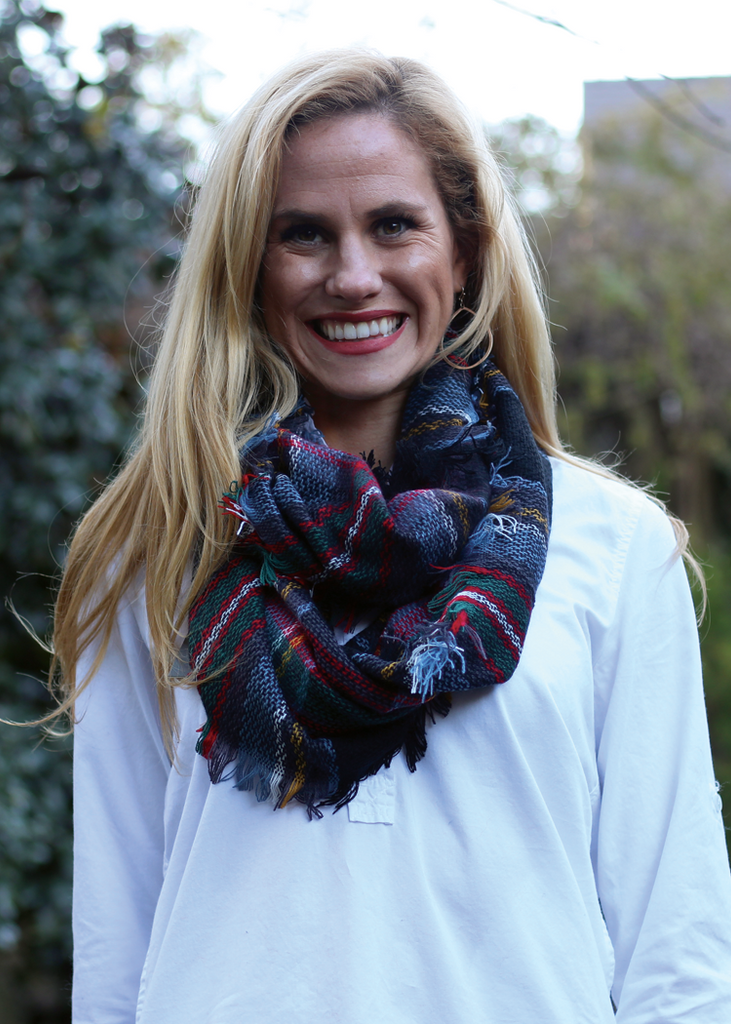 Infinity Scarf - Navy, Green, & Red