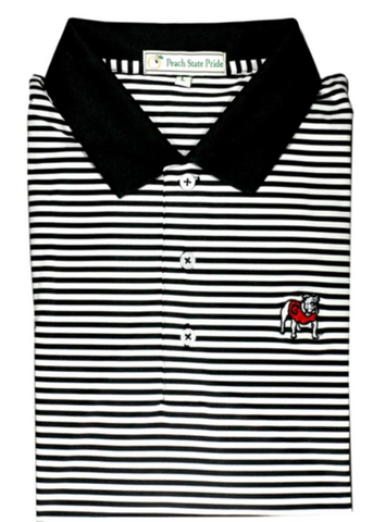 UGA Super G Georgia Magnolia Stripe Polo - Red & Black - Self Collar