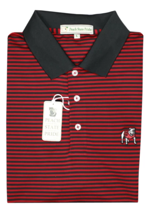 UGA Standing Dog Classic Stripe Polo - Red & Black - Knit Collar