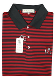 UGA Standing Dawg Classic Stripe Polo - Red & Black - Knit Collar