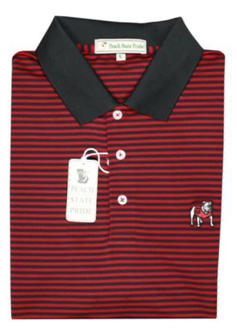UGA Standing Dawg Magnolia Stripe Polo - Red & Black - Knit Collar
