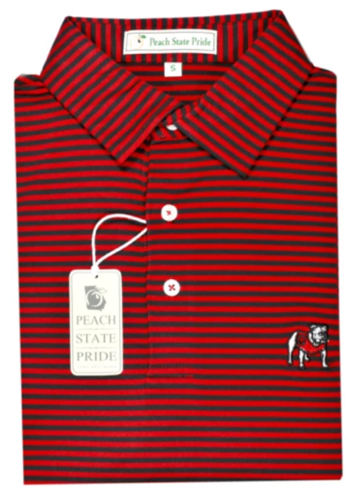 UGA Standing Dawg Classic Stripe Polo - Red & Black - Self Collar