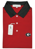 UGA Super G Georgia Magnolia Stripe Polo - Red & Black - Knit Collar