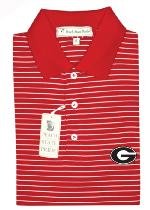 UGA Magnolia Stripe Polo - Red/White - G - Knit Collar