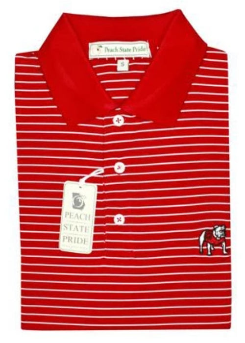 UGA Magnolia Stripe - Standing Dog - Red & White - Knit Collar