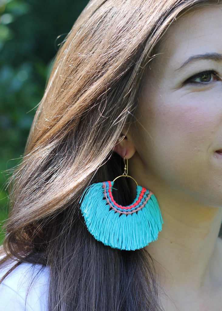 Stitched Tassel Earring - Teal