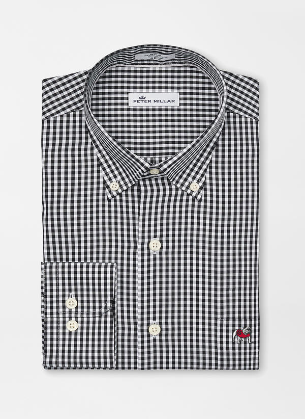 UGA Crown Ease Twill Check Button Down - Standing Dog
