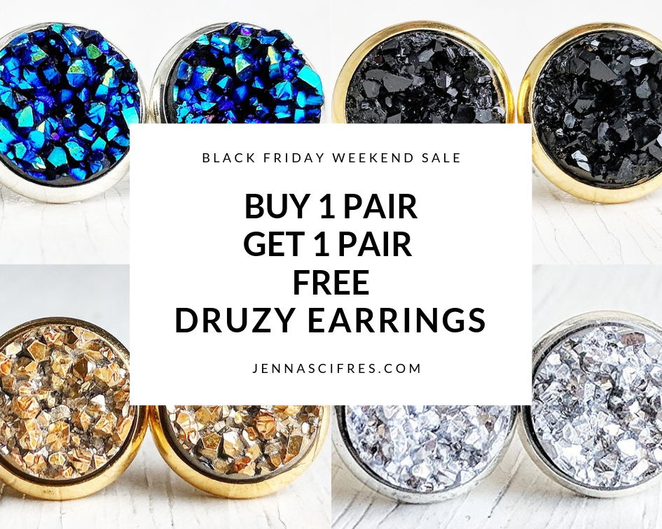 Druzy Earrings Buy 1 Get 1 Free 😍 this weekend only ✨