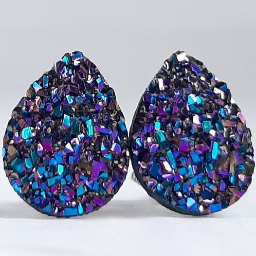 Ultra Violet Druzy Teardrop Stud Earrings - Hypoallergenic Titanium Posts