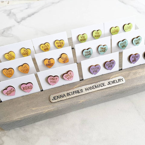 Wooden Conversation Hearts Stud Earrings - Titanium Posts