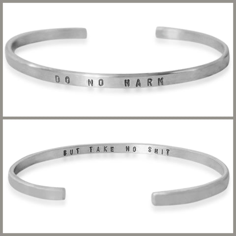"Silver ""Do No Harm"" Skinny Cuff Bracelet"