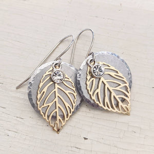 Mixed Metal Leaf Earrings