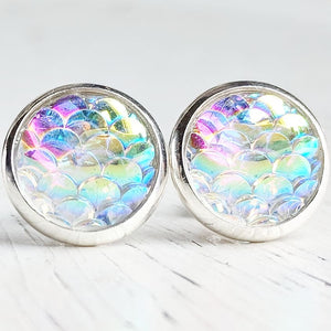 Opal Mermaid in Silver Settings Stud Earrings - Hypoallergenic Posts