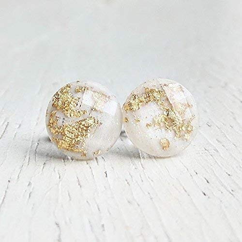 White with Gold Flakes Stud Earrings - Titanium