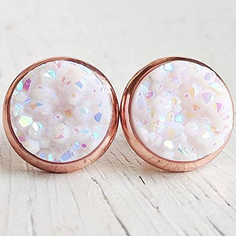 White on Rose Gold - Druzy Stud Earrings - Hypoallergenic Posts