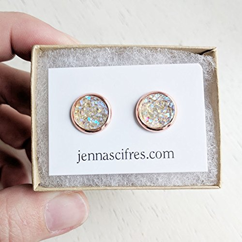 Opal on Rose Gold - Druzy Stud Earrings - Hypoallergenic Posts