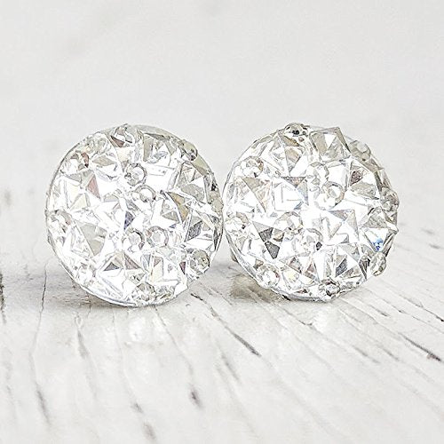 Clear Sparkly Stud Earrings - Hypoallergenic
