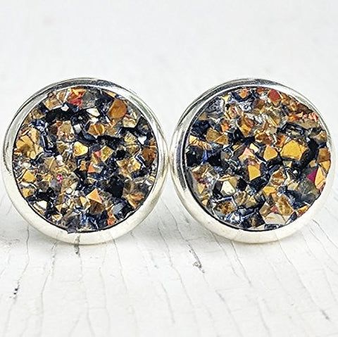 Pyrite on Silver - Druzy Stud Earrings - Hypoallergenic Posts