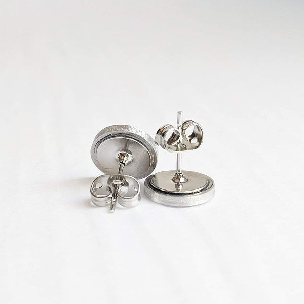 10mm Brushed Aluminum Stud Earrings - Titanium