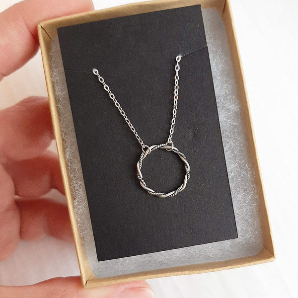 Twist Circle Sterling Silver Necklace
