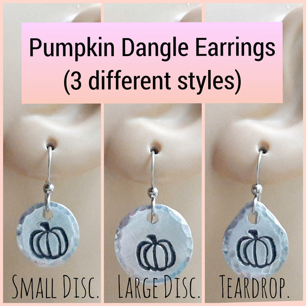 Pumpkin Dangle Earrings - Three Different Styles - Surgical Steel