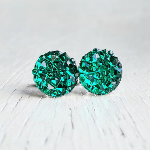 Green Sparkly Stud Earrings - Hypoallergenic