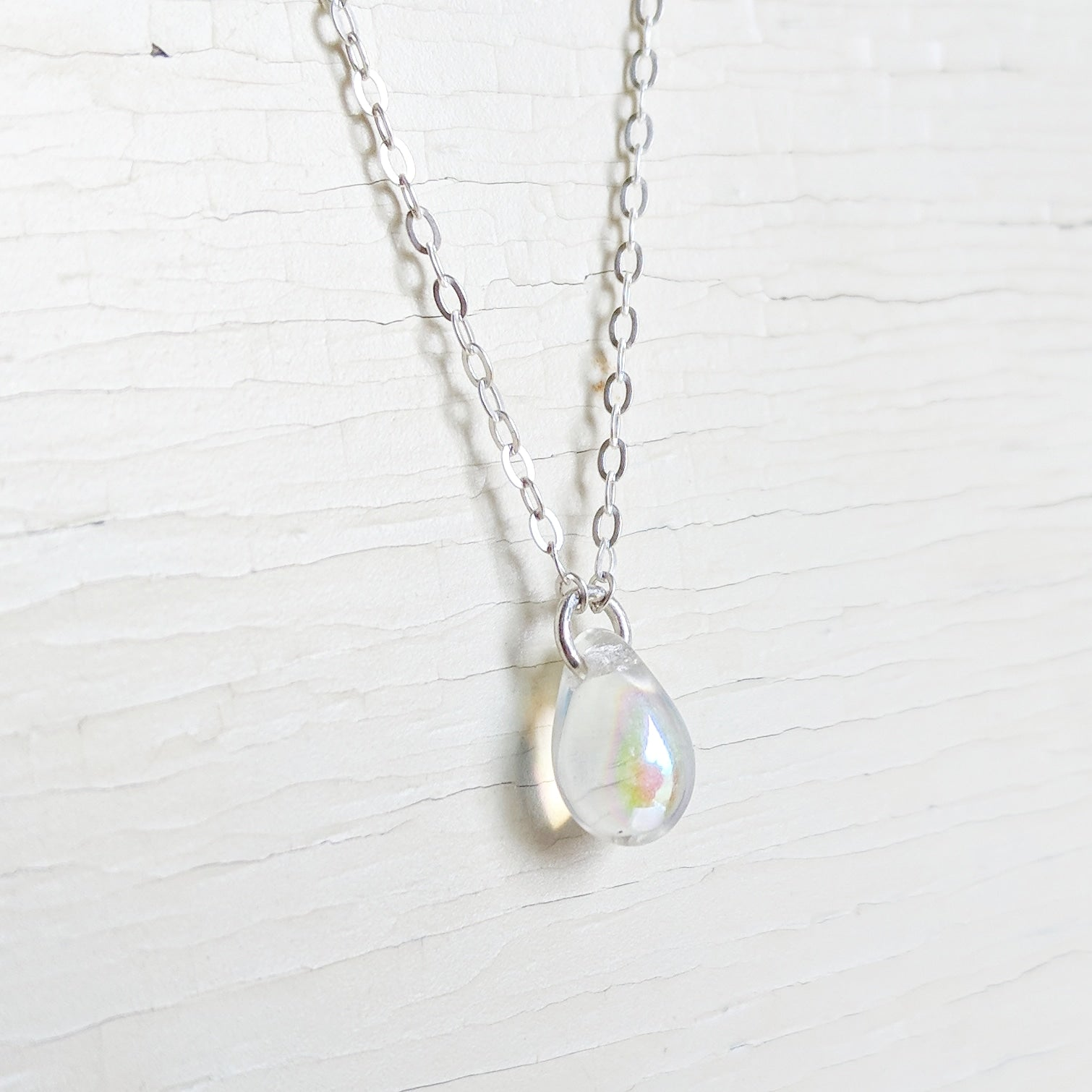 Crystal Raindrop on Sterling Silver Necklace