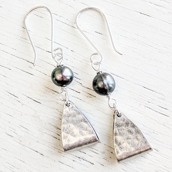 "Black Pearl Sterling Silver Earrings - As Seen On TV's ""The Fosters"" - Worn by Amanda Leighton as Emma"