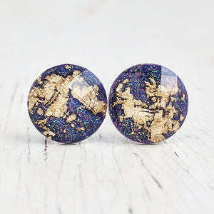 Dark Violet Purple with Gold Flake Stud Earrings - Hypoallergenic Posts
