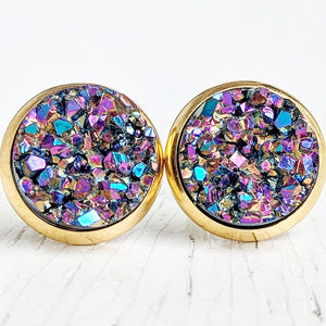 Ultra Violet on Gold - Druzy Stud Earrings - Hypoallergenic Posts