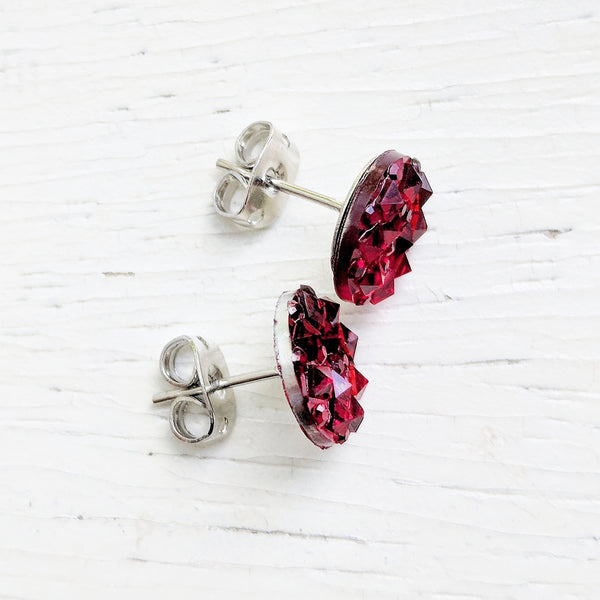 Red Sparkly Stud Earrings - Hypoallergenic